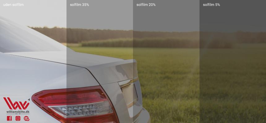 Solfilm til biler fås i 3 forskellige nuancer. Enten med 5, 20 eller 35 procents lysgennemgang.