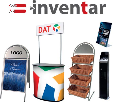 Køb alt indenfor inventar med logo på. Du kan blandt andet købe skilte, brochure holdere og meget andet.