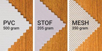 Illustration af de 3 forskellige slags stof, som der laves bannere af